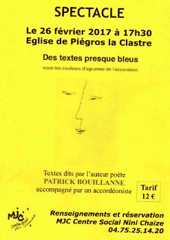 Textes dits par Patrick Bouillanne à l'église de Piégros la Clastre