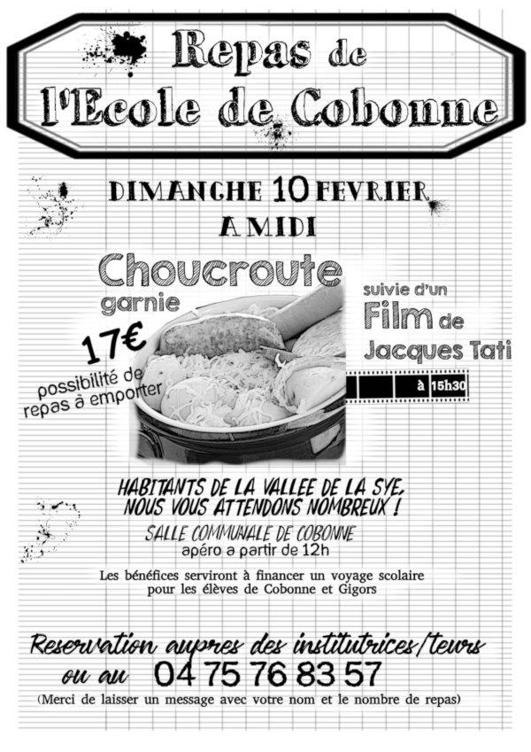 Affiche repas de l'école, dimanche 10 février 2019